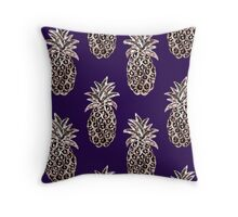 Gold pineapples on purple Throw Pillow