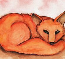 Fox in Watercolor by Katrina Larock
