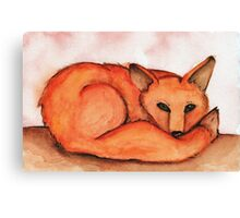 Fox in Watercolor Canvas Print