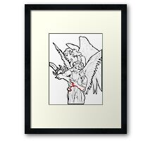 Ancient Winged Vampire Women with Chalice and Sword Framed Print