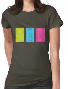 Gameboy, Cassette, and VHS Neon (white) Womens Fitted T-Shirt