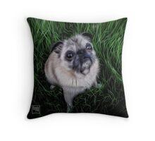 Pug in Grass Throw Pillow