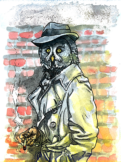 Noir Owl Detective by HiddenStash