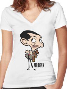 Mr Bean - Cartoon Women's Fitted V-Neck T-Shirt