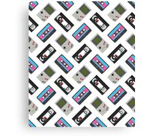 Gameboy, Cassette, and VHS Classic (white) Canvas Print
