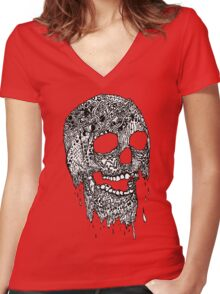 Brain Melter (B&W) Women's Fitted V-Neck T-Shirt
