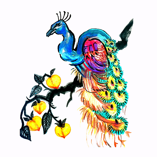 Peacock in a Peach Tree  by Ashley Peppenger