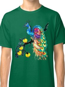 Peacock in a Peach Tree  Classic T-Shirt