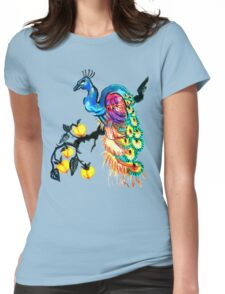 Peacock in a Peach Tree  Womens Fitted T-Shirt