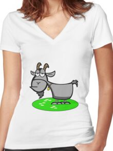 Funny Cartoon Goat  Women's Fitted V-Neck T-Shirt
