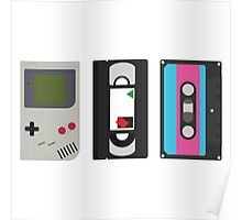 Single Gameboy, Cassette, and VHS Classic Poster