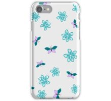 Color floral pattern with flowers and butterfly iPhone Case/Skin
