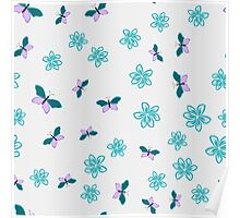 Color floral pattern with flowers and butterfly Poster
