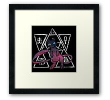 dark ancient mew in a black bubble  Framed Print