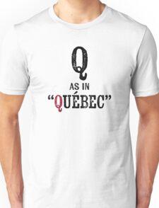 Quebec CanadaT-shirt - Alphabet Letter Unisex T-Shirt