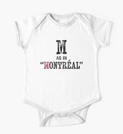Montreal QuebecT-shirt - Alphabet Letter One Piece - Short Sleeve