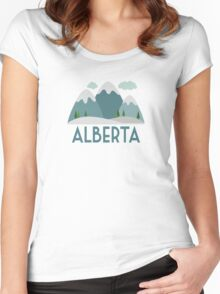 Alberta Ski T-shirt - Skiing Mountain Women's Fitted Scoop T-Shirt