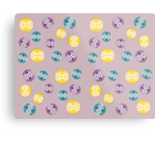 Spray Painted Floral Pattern on Polkadots with Light Mauve Background Metal Print