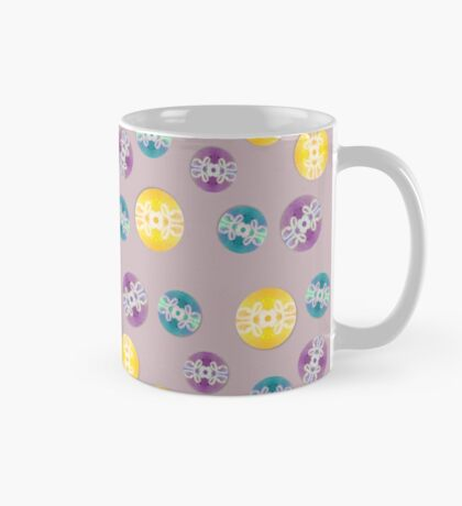 Spray Painted Floral Pattern on Polkadots with Light Mauve Background Mug