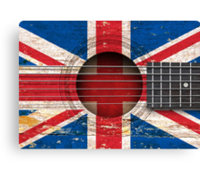 Old Acoustic Guitar with British Flag Canvas Print
