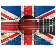 Old Vintage Acoustic Guitar with British Flag Poster