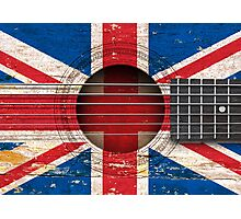 Old Vintage Acoustic Guitar with British Flag Photographic Print