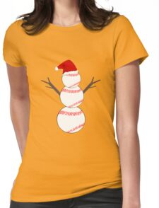 Baseball Snowman - Funny Christmas Womens Fitted T-Shirt