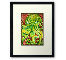 Cthulhu Painting on Wood Framed Print