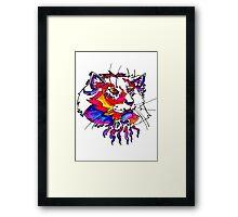 ultra violet neon cat Framed Print