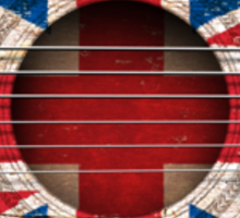 Old Vintage Acoustic Guitar with British Flag Sticker