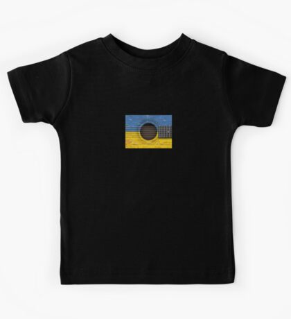Old Vintage Acoustic Guitar with Ukrainian Flag Kids Tee