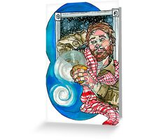 man with evening coffee Greeting Card