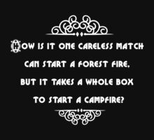 How is it one careless match can start a forest fire, but it takes a whole box to start a campfire? by Tia Knight