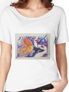 Red Great Pacific Octopus with Yellow Tentacles in a Purple Abstract Sea 2016 Women's Relaxed Fit T-Shirt