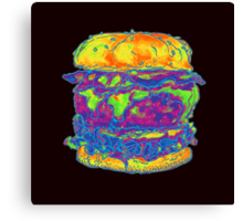 Neon Bacon Cheeseburger Canvas Print