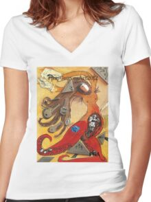 Dancing Woman, Red Octopus with Tentacles, Mixed Media 2014 Women's Fitted V-Neck T-Shirt
