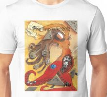 Dancing Woman, Red Octopus with Tentacles, Mixed Media 2014 Unisex T-Shirt