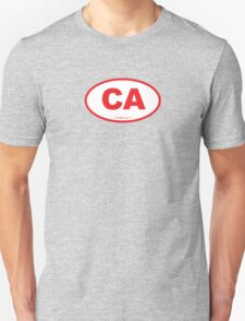 California CA  Euro Oval RED T-Shirt
