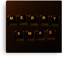 Keyboard lettering of Merry Xmas Canvas Print