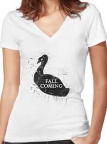 FALL IS COMING (black) Women's Fitted V-Neck T-Shirt