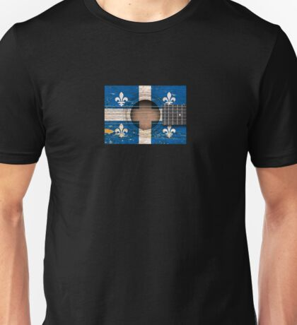 Old Acoustic Guitar with Quebec Flag Unisex T-Shirt