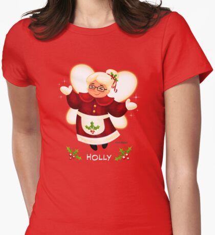CHRISTMAS HOLLY Womens Fitted T-Shirt