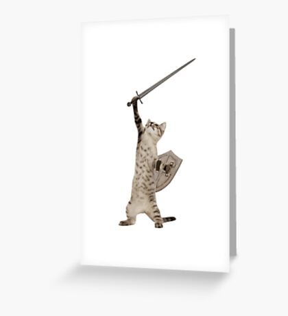 Heroic Warrior Knight Cat Greeting Card