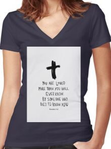 Romans Bible Verse Women's Fitted V-Neck T-Shirt