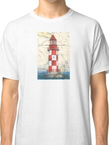 Cape North Race Lighthouse NS Canada Map Cathy Peek Classic T-Shirt