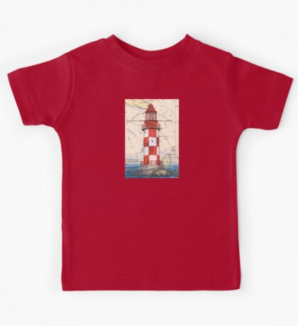 Cape North Race Lighthouse NS Canada Map Cathy Peek Kids Tee