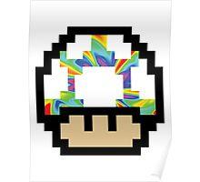 Trippy 8-Bit Mushroom Poster