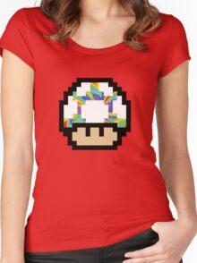 Trippy 8-Bit Mushroom Women's Fitted Scoop T-Shirt