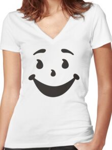 KOOL MAN AID FACE TShirt Oh Yeah 90s Retro Tee Shirt Cool Funny Smiley Yea Drink Women's Fitted V-Neck T-Shirt