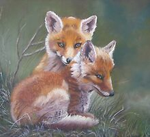 A cuddle of Fox cubs by Norah Jones